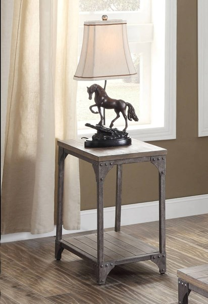 Gorden Weathered Oak Pine MDF Antique Silver Iron End Table ACM-81447