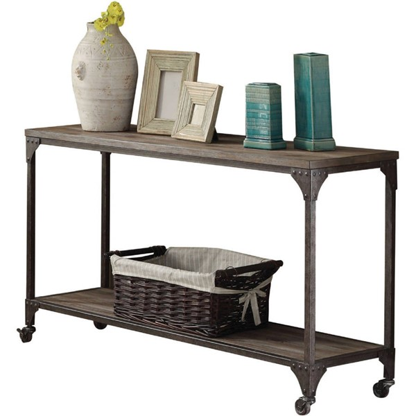 Acme Furniture Gorden Weathered Oak Antique Nickel Sofa Table ACM-81449