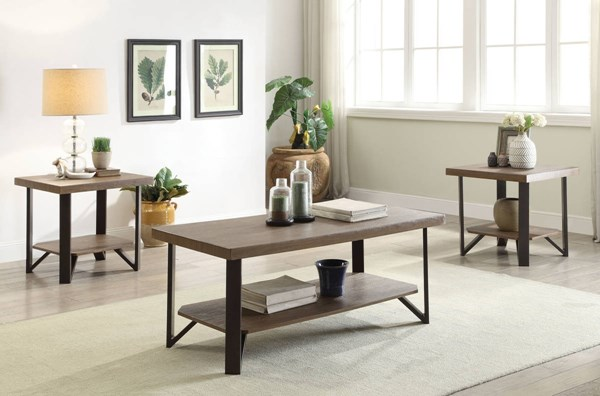 Haines Oak MDF PVC Antique Bronze Metal Coffee Table Set ACM-8145-OCT
