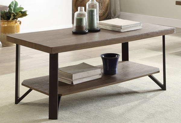 Haines Oak MDF PVC Antique Bronze Metal Coffee Table ACM-81450