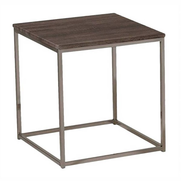 Cecil Brown Walnut Metal Wood Square End Table ACM-81499