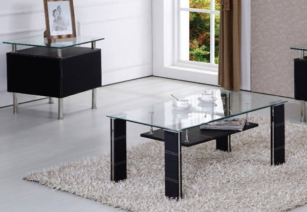 Michel Black PU Glass 3pc Coffee Table Set ACM-81520-23-OCT-S
