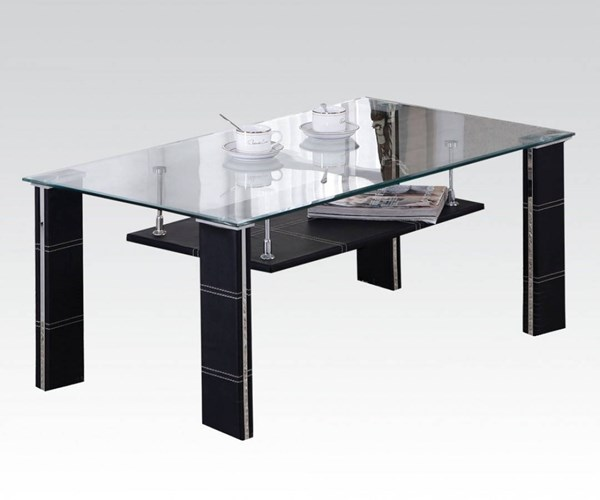 Michel Black PU Glass Rectangle Coffee Table ACM-81520