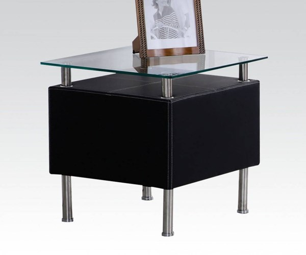 Michel Black PU Glass Square End Table w/Shelf ACM-81523