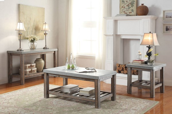 Parker Frosted Gray Wood Rectangular Coffee Table Set ACM-8159-OCT