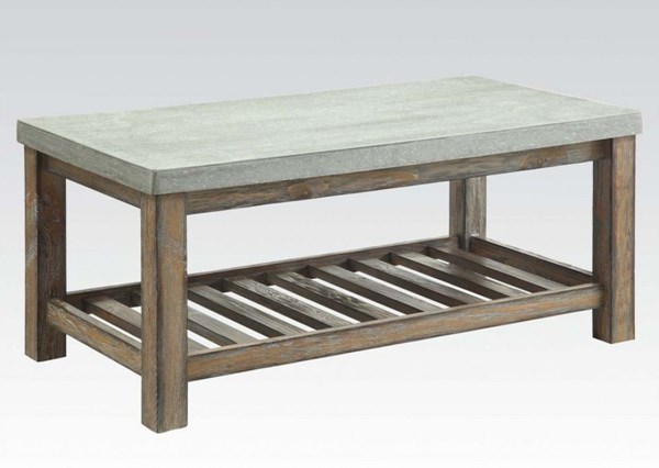 Parker Frosted Gray Wood Rectangular Coffee Table ACM-81590