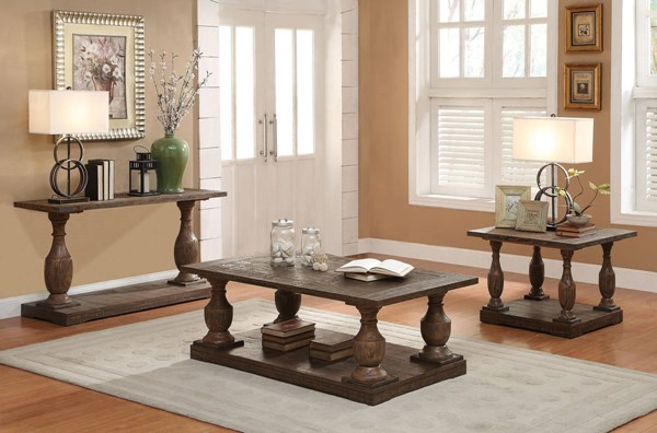 Hanson Brown Wood Coffee Table Set w/Oversized Turned Legs ACM-81605-OCT