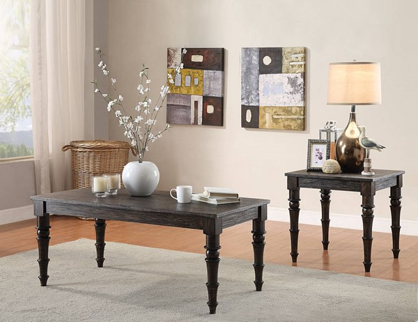Kami Antique Black Wood 3pc Coffee Table Set ACM-8161-OCT-S