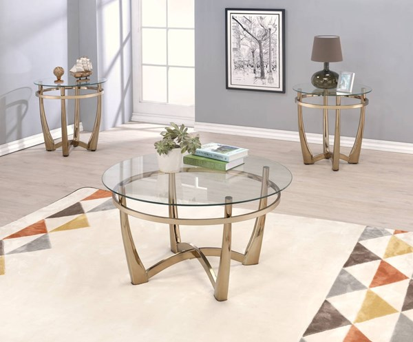 Orlando II Champagne Metal Clear Glass 3pc Coffee Table Set ACM-8161-OCT-S1