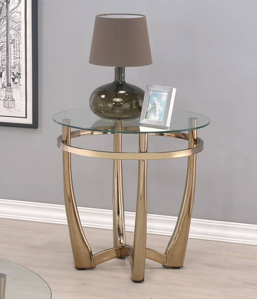 Acme Furniture Orlando II Champagne Clear End Table