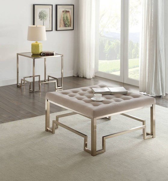Damien Champagne Metal Fabric 3pc Coffee Table Set ACM-8162-OCT-S1
