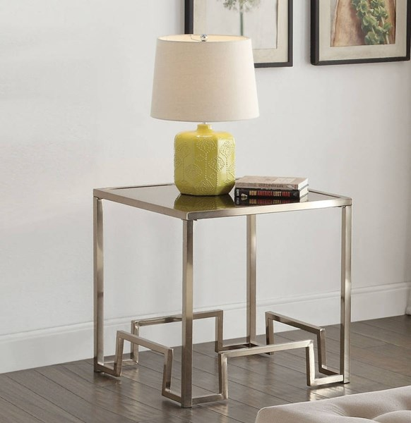 Damien Champagne Metal Clear Glass End Table ACM-81627