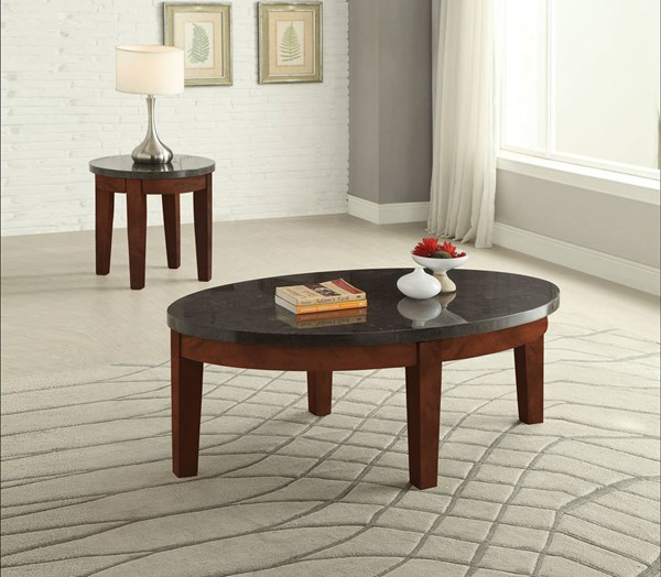 Faymoor Walnut Antique White Marble Wood Coffee Table Set ACM-817-OCT