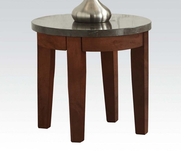 Faymoor Limestone Walnut Marble Wood End Table ACM-81746