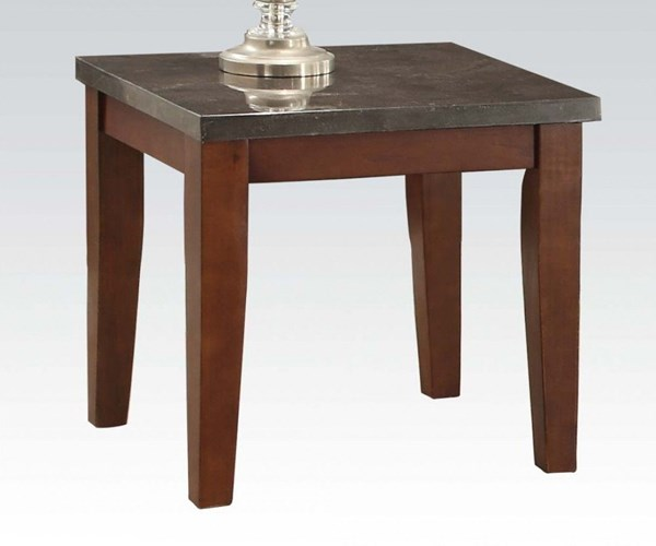 Faymoor Limestone Walnut Marble Wood Square End Table ACM-81751
