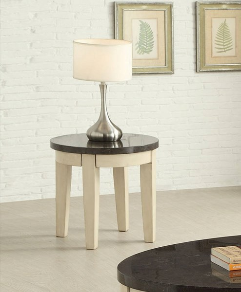 Faymoor Limestone Antique White Marble Wood End Table ACM-81756
