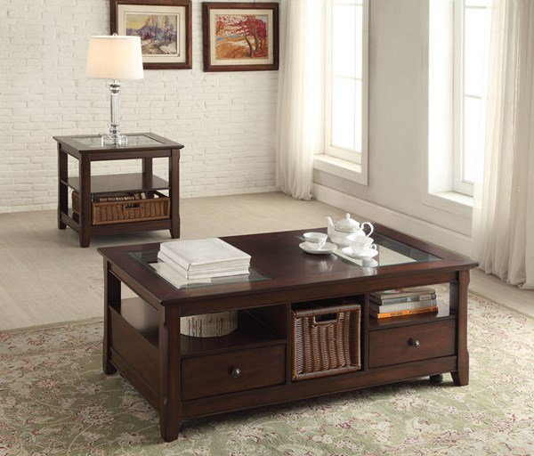 Hagen Cherry Wood Glass Plastic 3pc Coffee Table Set ACM-8176-OCT-S1