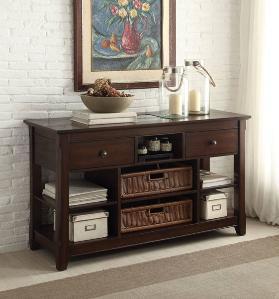 Hagen Cherry Wood Glass Sofa Table ( Baskets Not Included ) ACM-81762