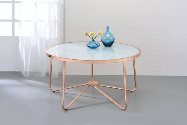 Acme Furniture Alivia Rose Gold Frosted Glass Top Coffee Table ACM-81835