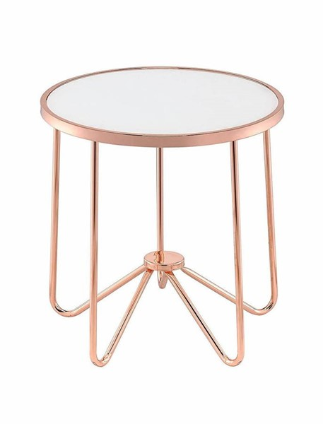 Acme Furniture Alivia Rose Gold Frosted Glass End Table ACM-81837