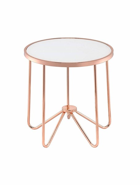 Acme Furniture Alivia Rose Gold Frosted Glass Top End Table ACM-81837