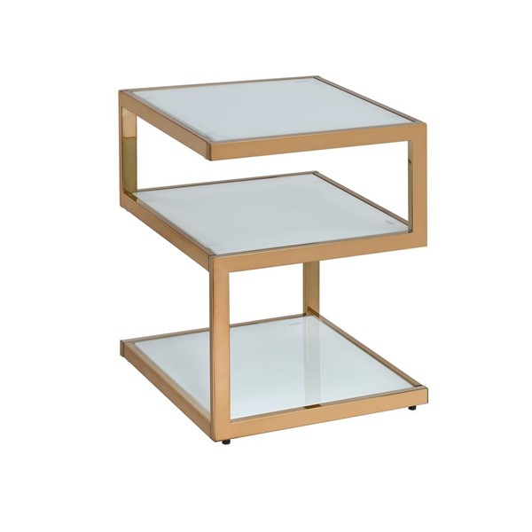 Acme Furniture Alyea Modern Frosted Glass Top Gold End Table ACM-81847