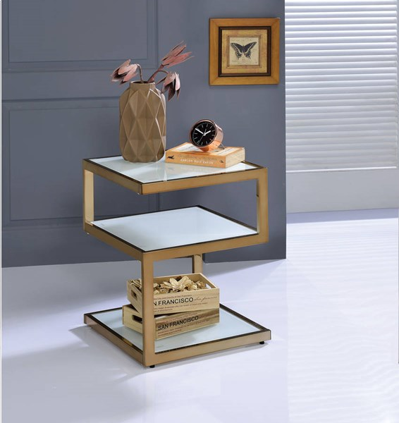Acme Furniture Alyea Modern Glass Top Square End Tables ACM-8184-ET-VAR