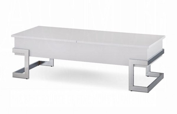 Acme Furniture Calnan White Chrome Lift Top Coffee Table ACM-81850