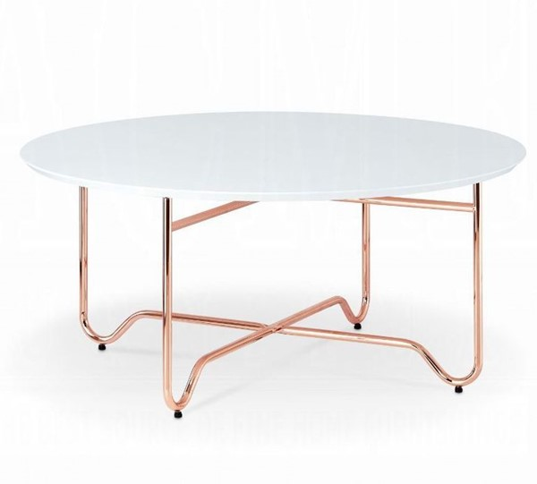 Acme Furniture Canty White Rose Gold Coffee Table ACM-81860