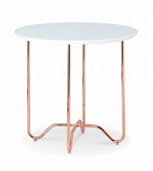 Acme Furniture Canty White Rose Gold End Table ACM-81862