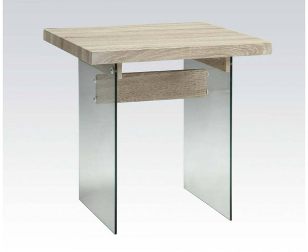 Glassden Light Oak Wood PVC Glass End Table ACM-81907