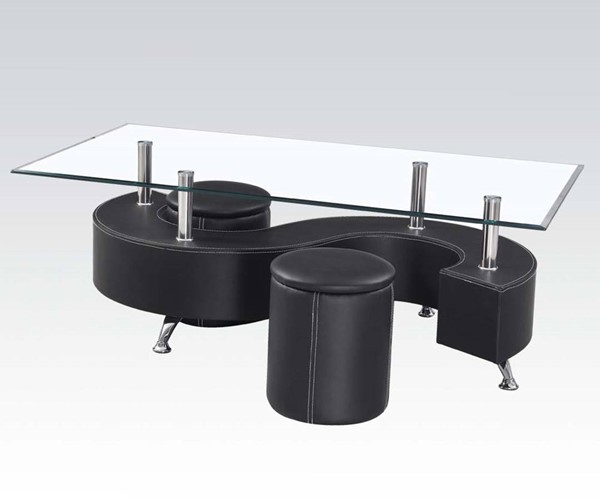 Lavern Black PU Wood Glass 3pc Coffee Table & Ottomans ACM-82015