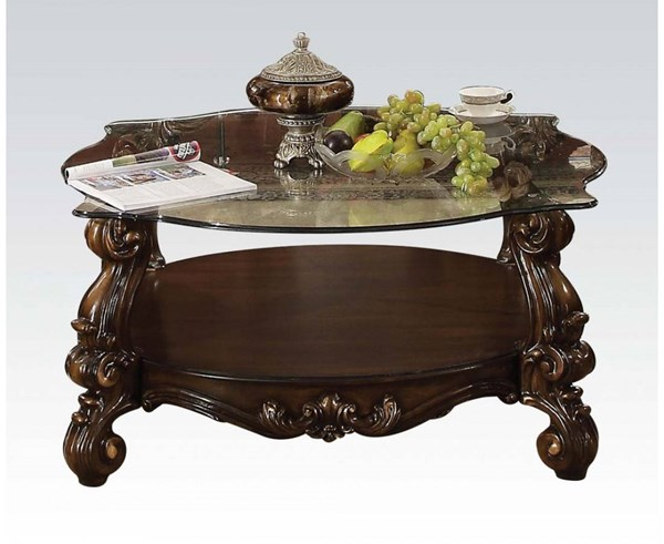 Versailles Cherry Oak Wood Glass Scrolled Legs Coffee Table ACM-82080