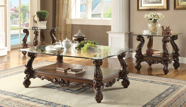 Versailles Traditional Cherry Oak Wood Glass Coffee Table Set ACM-82100-OCT