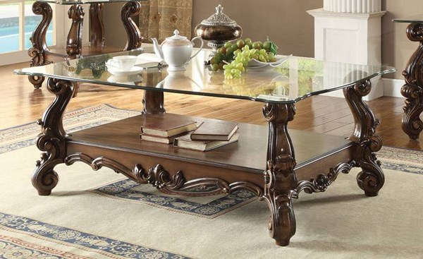 Versailles Traditional Cherry Oak White Wood Glass Coffee Tables ACM-82100-CT-VAR