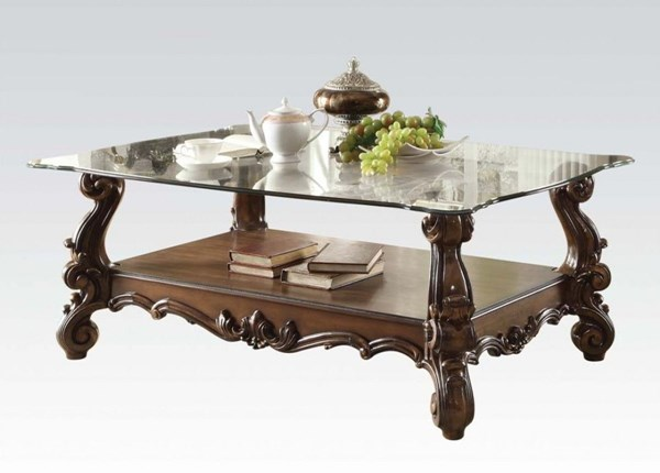 Versailles Traditional Cherry Oak Wood Glass Coffee Table ACM-82100