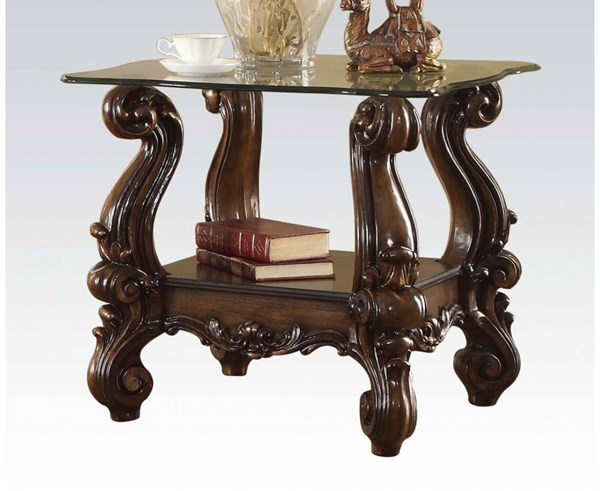 Versailles Traditional Cherry Oak Wood Glass End Table ACM-82101