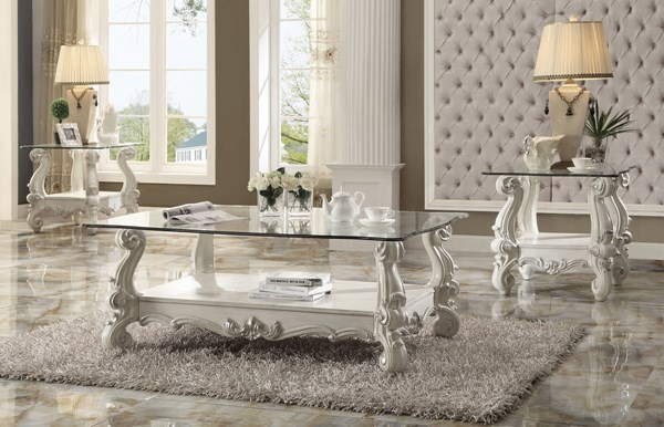 Versailles Traditional Bone White Wood Glass 3pc Coffee Table Set ACM-82103-OCT-S1