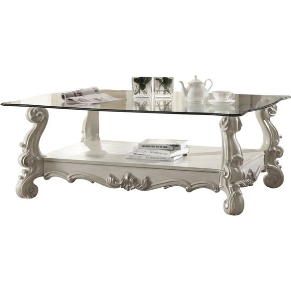 Versailles Square Coffee Table: Acme Furniture Versailles Bone White Coffee Table