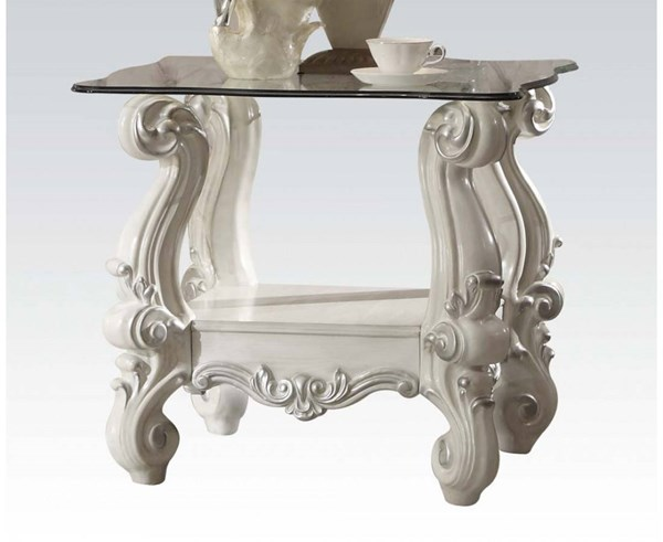 Versailles Traditional Bone White Wood Glass End Table ACM-82104