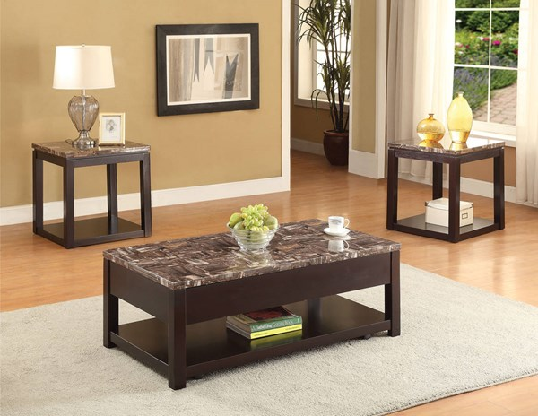 Dusty Espresso Faux Marble Wood Coffee Table Set ACM-8212-OCT