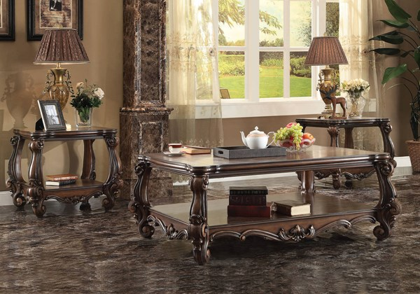 Versailles Traditional Cherry Oak White Wood 3pc Coffee Table Sets ACM-82120-OCT-S-VAR