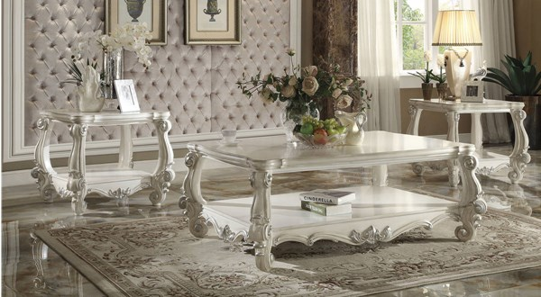 Versailles Traditional White Wood 3pc Coffee Table Set ACM-82123-OCT-S1