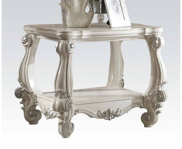 Versailles Traditional White Wood End Table ACM-82124
