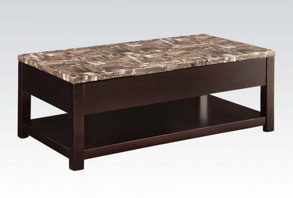 Dusty Espresso Faux Marble Wood Lift Top Coffee Table ACM-82127