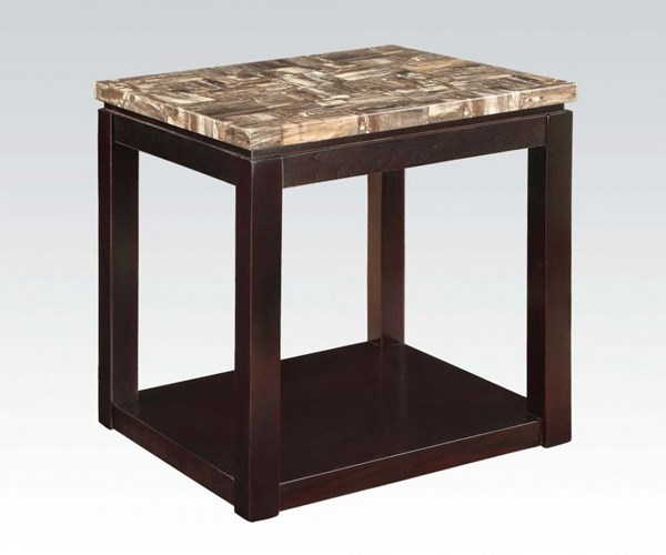 Dusty Espresso Faux Marble Wood End Table ACM-82128