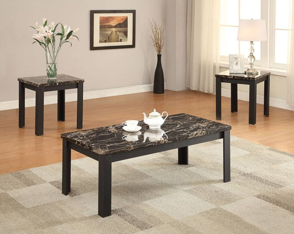 Carly Black Faux Marble Wood Rectangle 3pc Pack Coffee Table Set ACM-82130