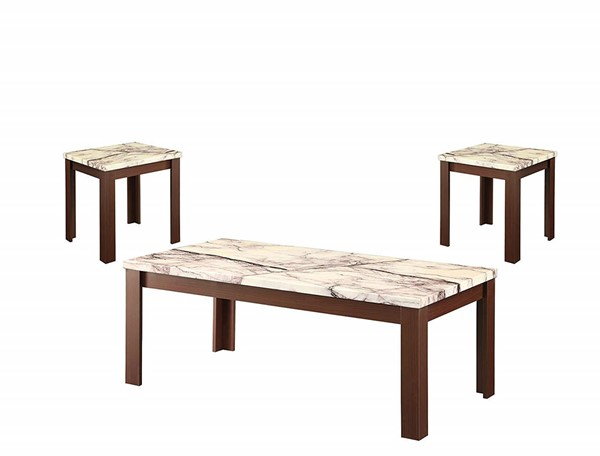 Acme Furniture Carly Cherry Faux Marble Top 3pc Coffee Table Set ACM-82132