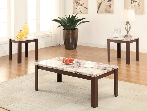 Carly Cherry Faux Marble Wood 3pc Pack Coffee Table Set ACM-82132