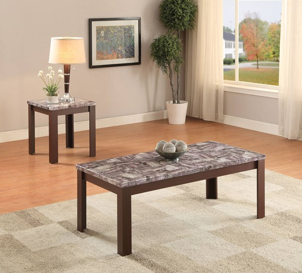 Arabia Cherry Faux Marble Wood 2pc Pack Coffee Table Set ACM-82136